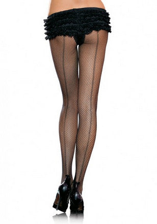 Black Fishnet Back Seam Hosiery Stockings - Lingerie Basement