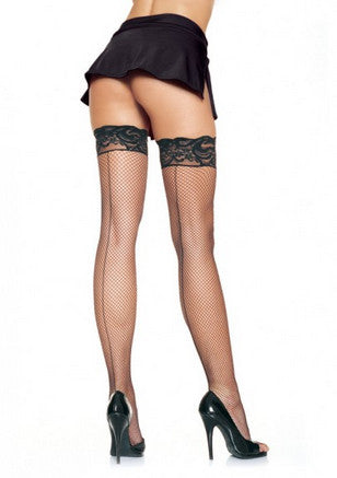 Black Fishnet Thigh High w/ Back Seam Stockings - Lingerie Basement