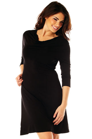 Black 3/4 Sleeve Reversable Dress with Comfort & Style Dresses - Lingerie Basement