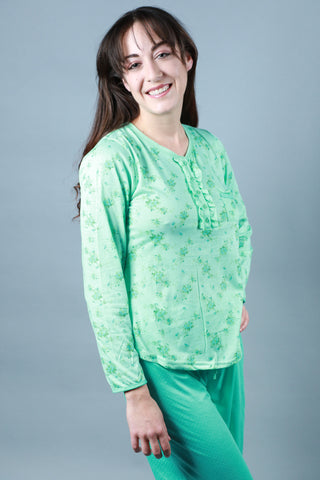 Long Sleeve Green Pajama Pajama - Lingerie Basement