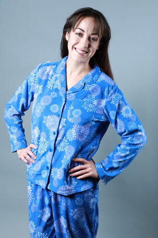 Blue Snowflake Flannel Button-Up Pajama Pajama - Lingerie Basement