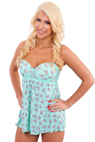 """Cuddle Up"" Blue Floral Babydoll with Padded Cups Babydoll - Lingerie Basement"