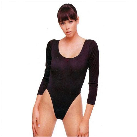 Long Sleeve Opaque Bodysuit with Snaps Under Garment - Lingerie Basement