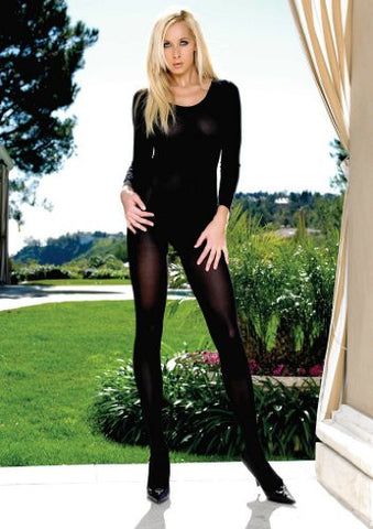 Opaque Long Sleeve Crotchless Bodystocking