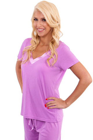 """Cuddle Up"" Purple PJ w/ Satin Trim Pajama - Lingerie Basement"