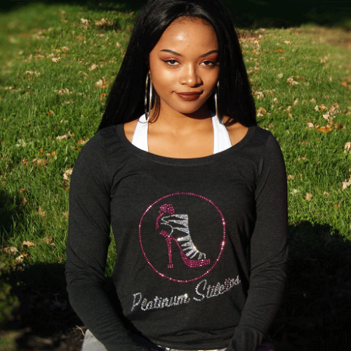 Platinum Stilettos ladies off the shoulder bling tee, ladies graphic tee, ladies activewear, ladies fashion