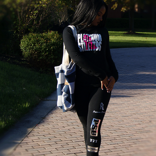 Platinum Stilettos Glitter & felt long sleeve printed tee, fitted long sleeve tee, ladies activewear, ladies gym wear,