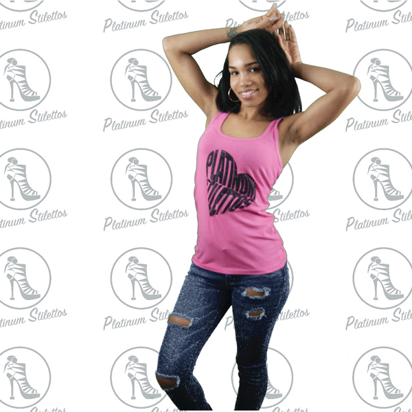 Platinum Stilettos Heart  Racerback FittedTank - Platinum Stilettos , graphe tee, ladies fitted tank, Ladies graphic tank, Platinum Stilettos - Ladies Activewear, Graphic Tees, Sweatshirts, Leggings, gym wear and more