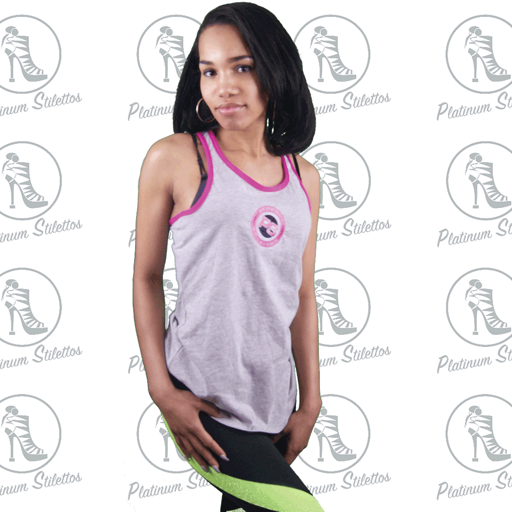 Platinum Stilettos Embroidered Sport Logo Relaxed Racerback Tees - Platinum Stilettos , Platinum Stilletos Sport Racer Back Tee, Platinum Stilettos - Ladies Activewear, Graphic Tees, Sweatshirts, Leggings, gym wear and more