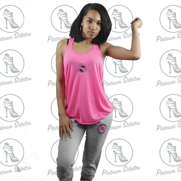 Platinum Stilettos Sport Gathered Racer Back Tank - Platinum Stilettos , graphe tee, ladies fitted tank, Ladies graphic tank, Platinum Stilettos - Ladies Activewear, Graphic Tees, Sweatshirts, Leggings, gym wear and more