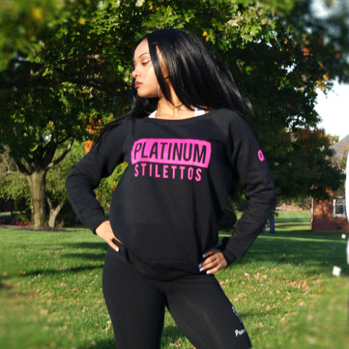 Platinum Stilettos Felt off Shoulder Sweat shirt, ladies gym wear, ladies active wear,