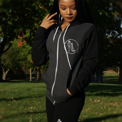 Ladies two toned full zip hoodie