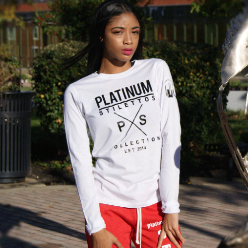 Long Sleeve ladies fitted Platinum X Chrome tee