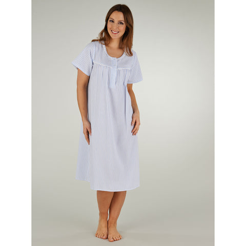 "42"" Round Neck Seersucker Short Sleeve Nightdress"