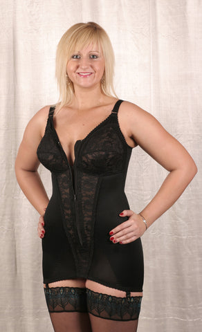 Open Zip Front Corselette (Black)