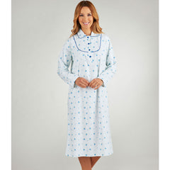 Slenderella Winceyette Long Sleeved Peter Pan Collar 43 inch Nightdress Blue