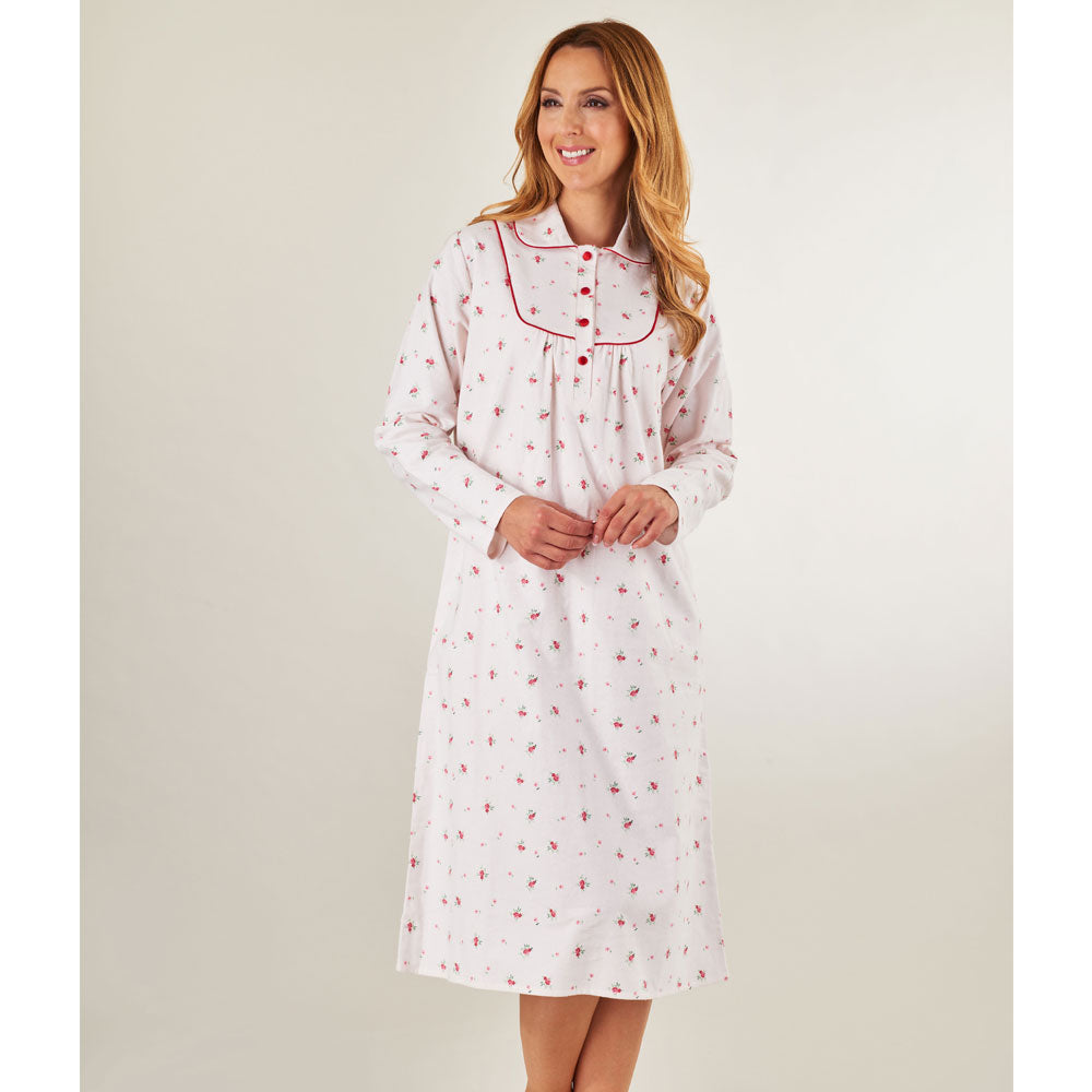 Slenderella Winceyette Long Sleeved Peter Pan Collar 43 inch Nightdress Pink