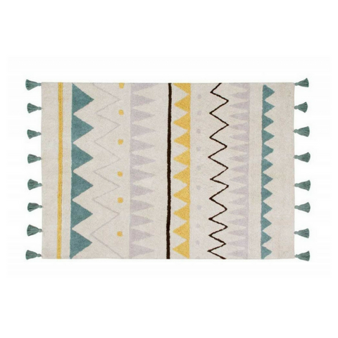Lorena Canals Washable Rugs Azteca Natural Vintage Blue
