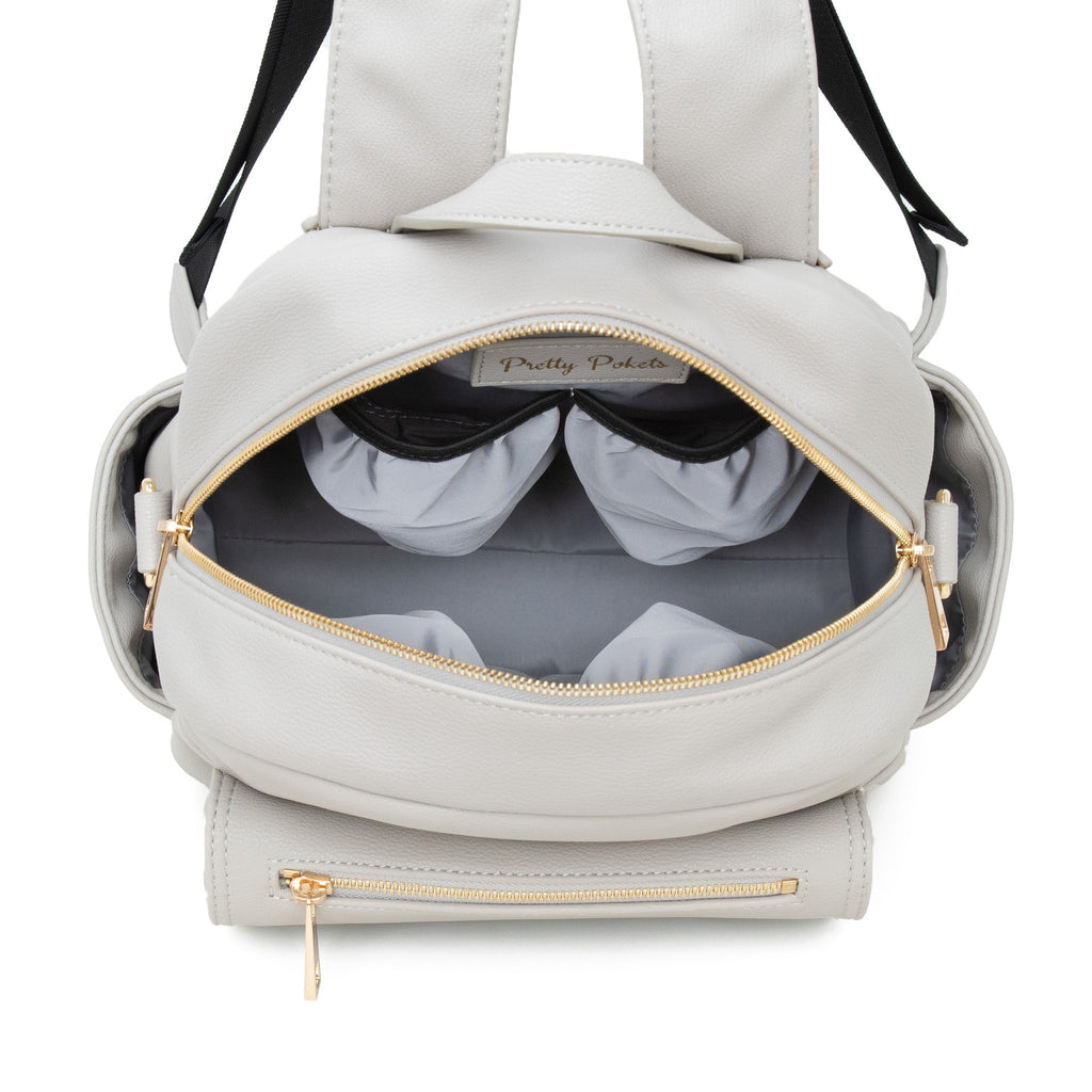 Pretty Pockets Small Diaper Bag Backpack (Bundle) - Gray