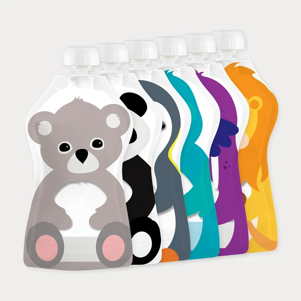 Squooshi 3.4oz Reusable Food Pouch 6 Pack
