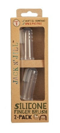 Jack N' Jill Silicone Finger Brush 2 Pack with Case - Stage 1 (6M - 18M)