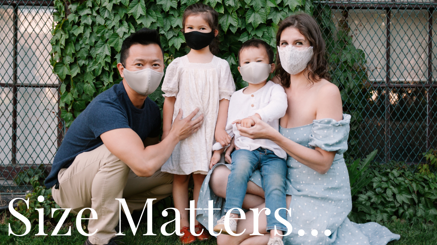 Family masks with mother father and children in non-medical face masks