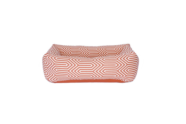 Bolster Bed, Coral geometric, solid cushion