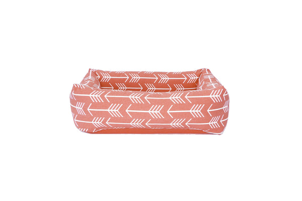 Bolster Bed, Coral arrows, solid cushion