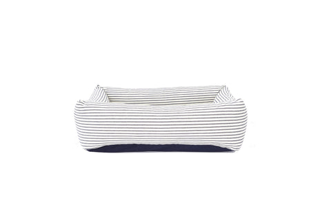 Bolster Bed, Natural with Blue Ticking
