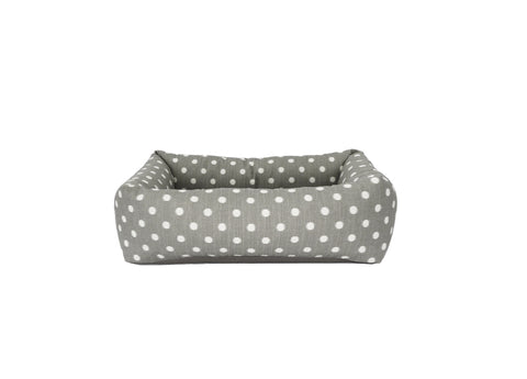Bolster Bed, grey ikat dot with solid grey cushion