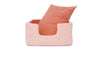 Niche Bed, Coral Geometric, solid cushion