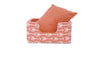 Niche Bed, Coral arrows, solid cushion