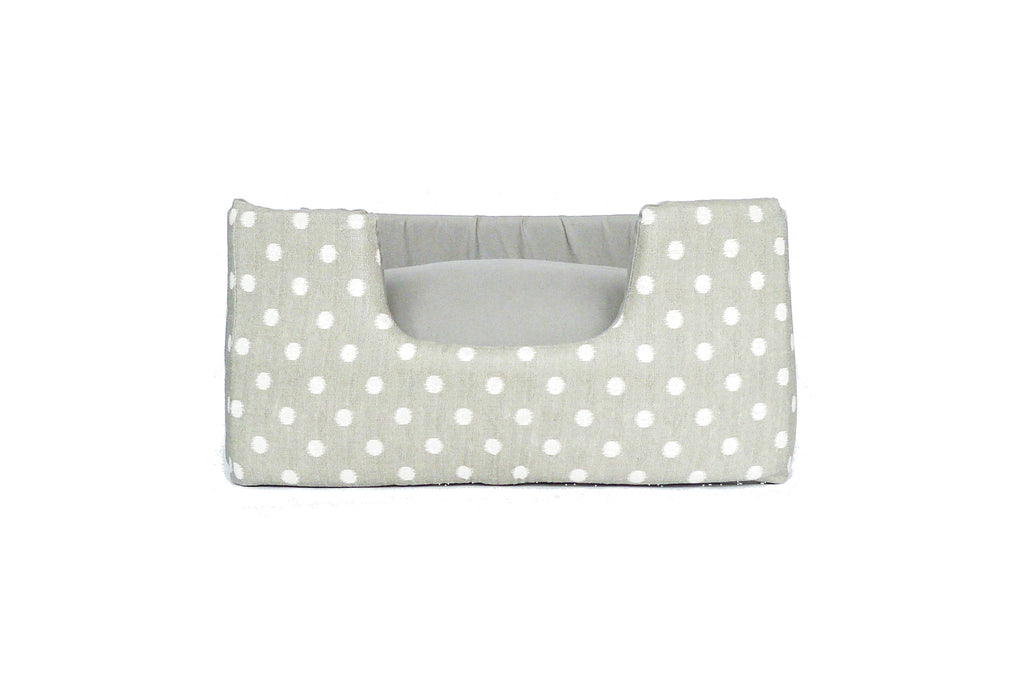 Niche Bed, Grey ikat dot with solid cushion