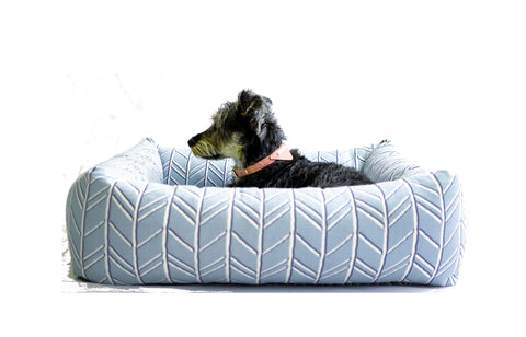Bolster Bed, Spa Blue Chevron