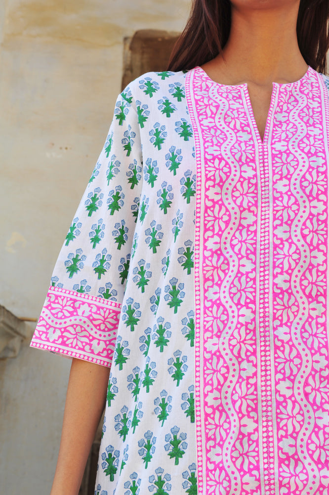 SZ Short Kurta in Blue & Green Floral