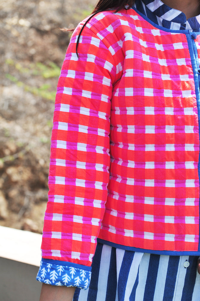 SZ Reversible Quilted Jacket in Bright Pink and Orange Gingham and Navy Patti PRE-SALE