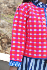 SZ Reversible Quilted Jacket in Bright Pink and Orange Gingham and Navy Patti