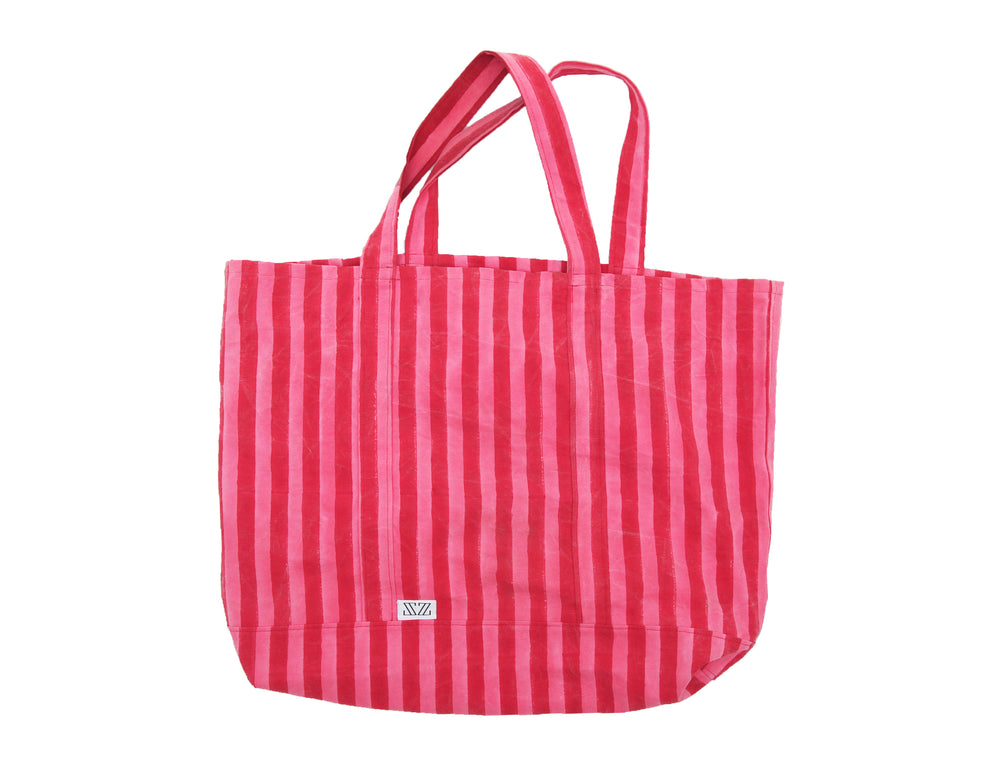 SZ Oversized Canvas Bag in Pink & Red Thick Stripe