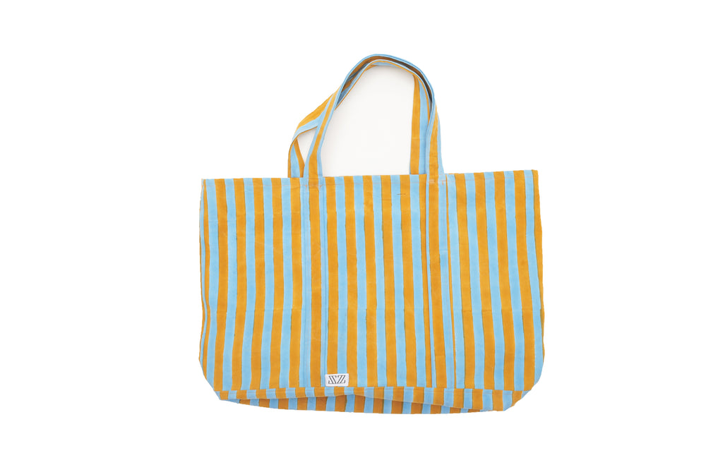 SZ Oversized Canvas Bag Pastel Blue & Canvas Thick Stripe