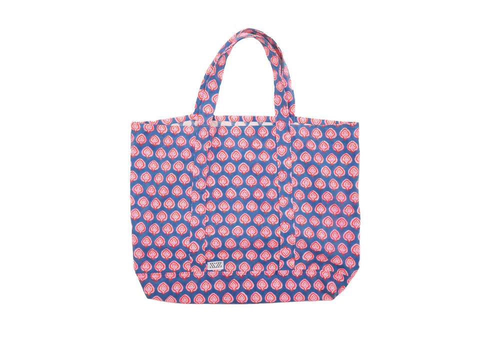 SZ Oversized Canvas Bag Gaze Blue in Hot Pink, Neon Papaya Bagru Stamp