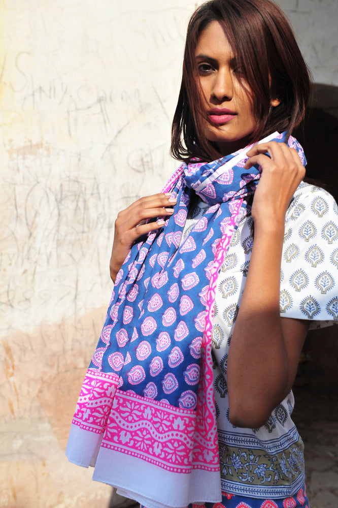 SZ Sarong in Gaze Blue, Hot Pink, Neon Papaya Bagru Stamp
