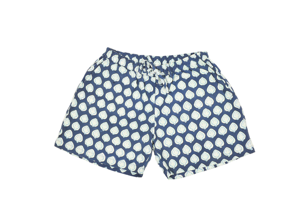 SZ Unisex Shorts in Sky Blue and Mint Bagru Stamp