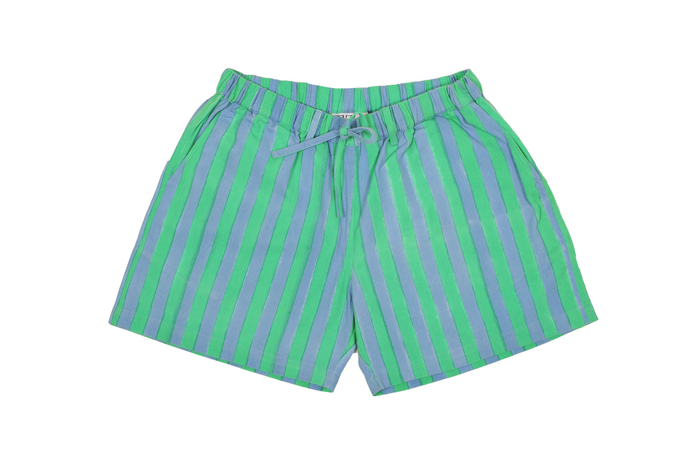 SZ Unisex Shorts in Sky Blue and Green Stripe