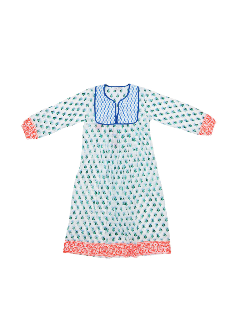SZ Kitty Dress in Greece Blue Pinky Phul Print