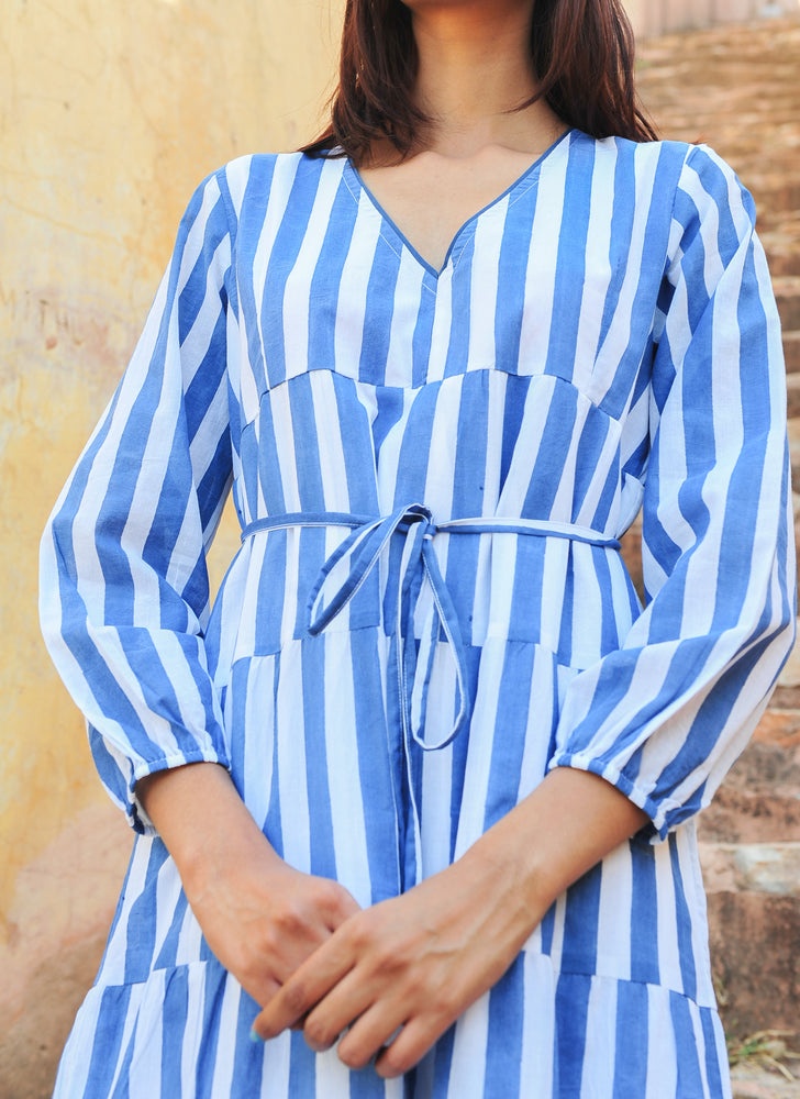 SZ Yuva Dress in Blue and White Stripe