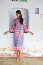 SZ Isle Frock in Gaze Blue, Hot Pink, Neon Papaya Bagru Stamp