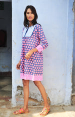 SZ Jaipur Dress in Gaze Blue, Hot Pink, Neon Papaya Bagru Stamp