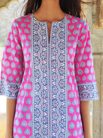 SZ Long Kurta in Hot Pink, Gaze Blue and Mint Bagru Stamp