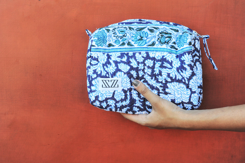 SZ Small Travel Bag in Navy Nila with Mint Trim