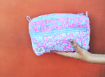 SZ Small Travel Bag in Navy Nila with Eva Pink